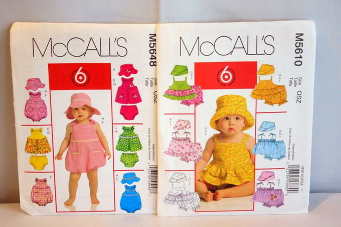 Baby Girls McCall's Sewing Pattern Summer Dresses Rompers and Hats