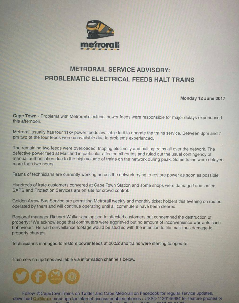 Note media statement - Problematic electrical feeds halt trains https://t.co/tPF3N2hGBg