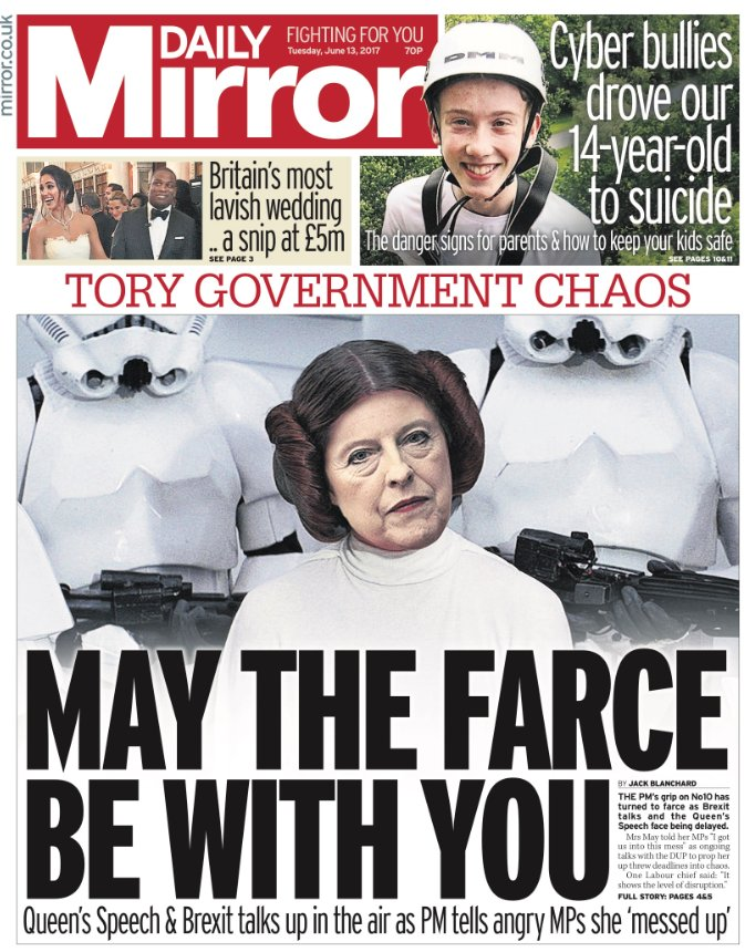 DAILY MIRROR FRONT PAGE: 'May the farce be with you' #skypapers