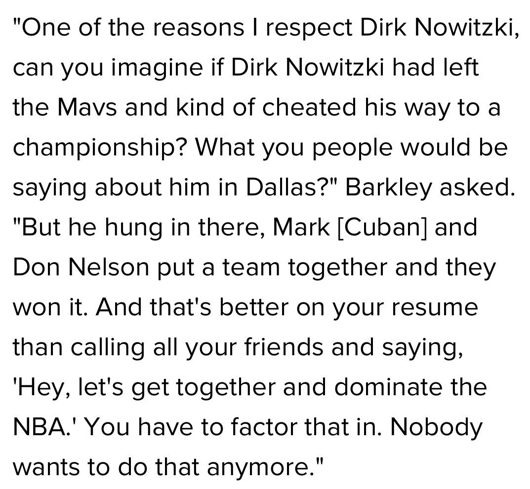 Charles Barkley on Dirk Nowitzki & #Mavs winning a championship without creating a super-team.