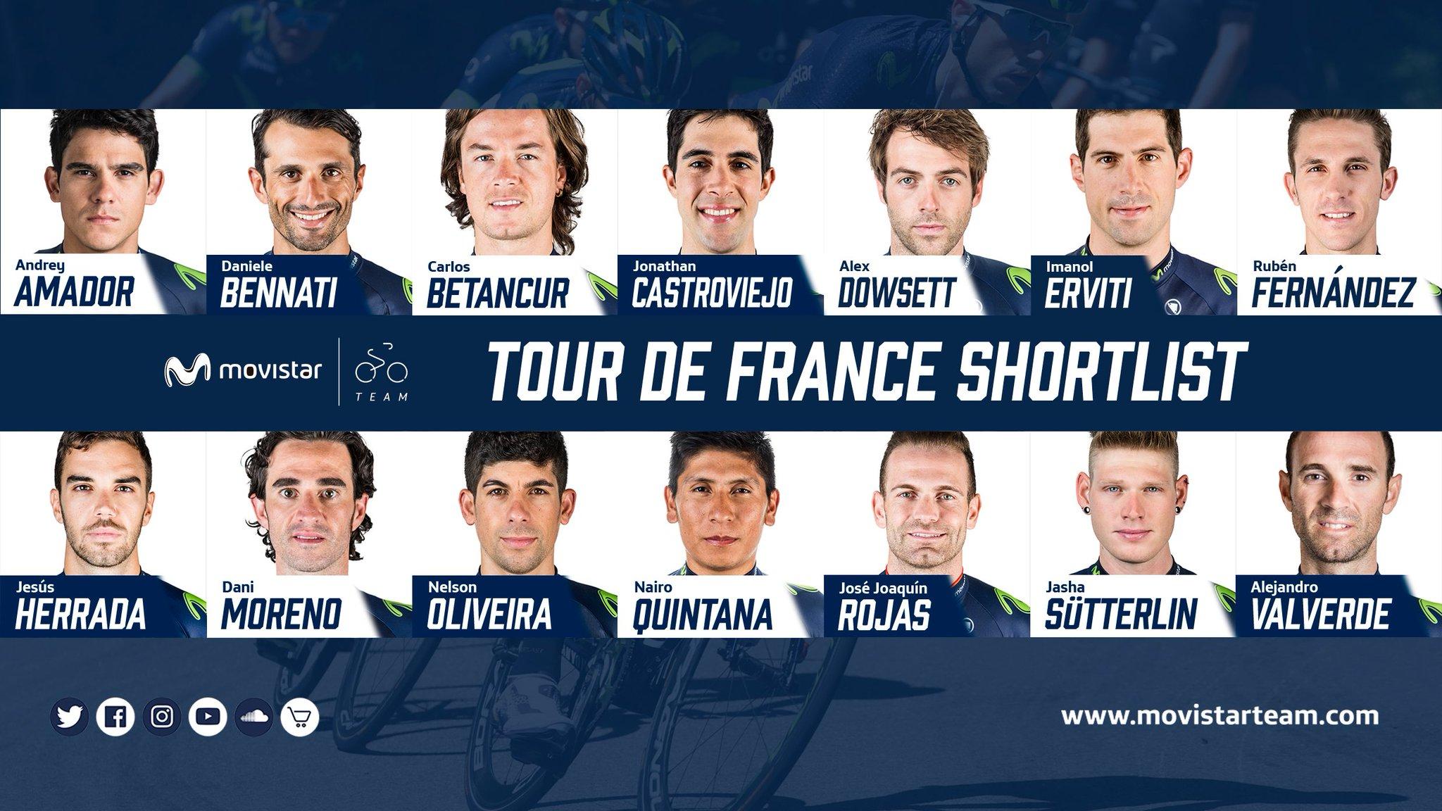 Nairo Quintana encabeza preselección del Movistar para el Tour de Francia