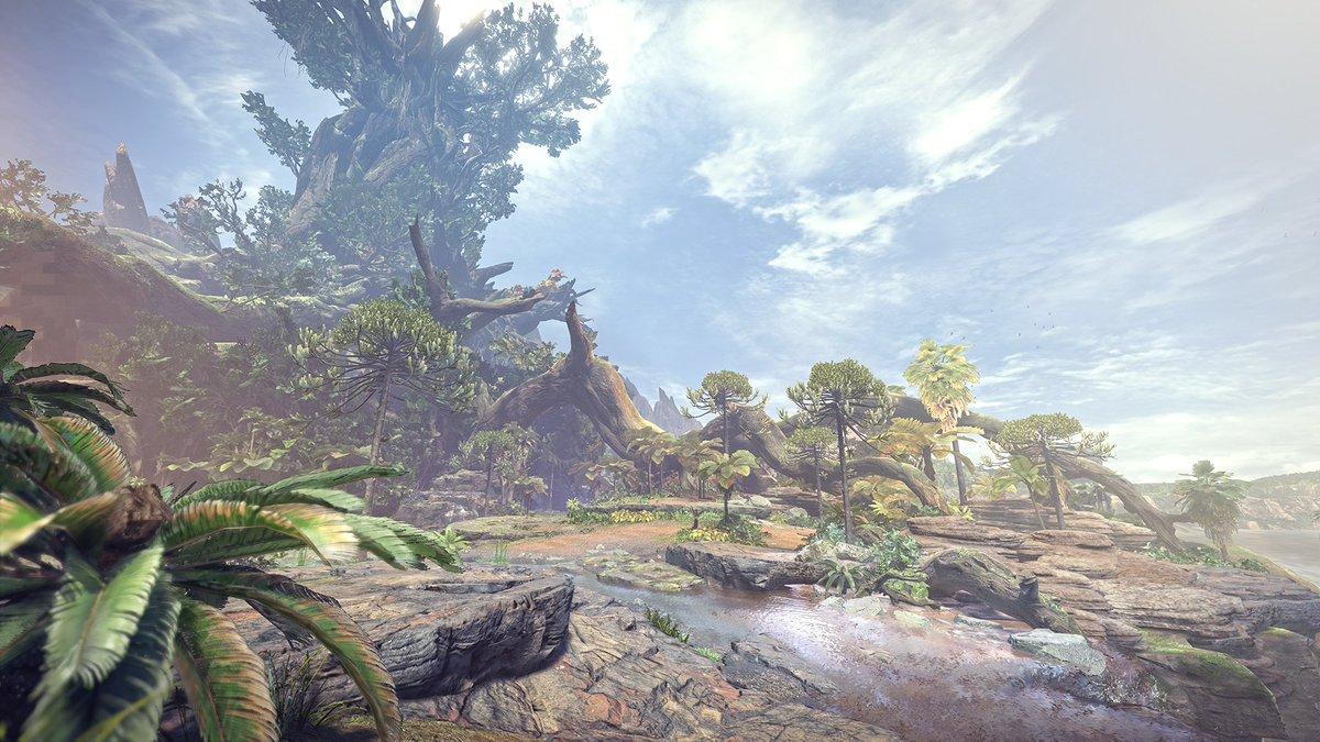【MHWorld】PS4『モンスターハンター:ワールド』。命息づく地、古代樹の森。さまざまな表情を持つエリアがシームレスにつながり、立体的で深みを持ったフィールドだ。プロモーション映像公開中。youtube.com/watch?v=xe-RAe…  #MHWorld #モンハンワールド