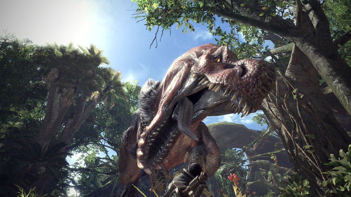 【MHWorld】『モンスターハンター:ワールド』。捕食対象の豊富な古代樹の森を縄張りとする蛮顎竜(ばんがくりゅう) アンジャナフ。非常に好戦的で他のモンスターに対しても躊躇なく襲い掛かる。youtube.com/watch?v=xe-RAe…  #MHWorld #モンハンワールド