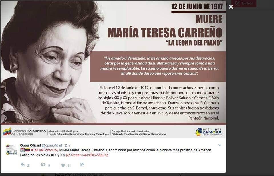 Estos chavistas ignorantes y estúpidos ponen la foto de Maria Teresa Castillo como Maria Teresa Carreño https://t.co/7YsrJ1evZW