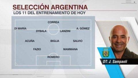 Jorge Sampaoli a décidé d'aligner une défense à 2 pour affronter Singapour. L'Argentine jouera en  2-3-5. 😳