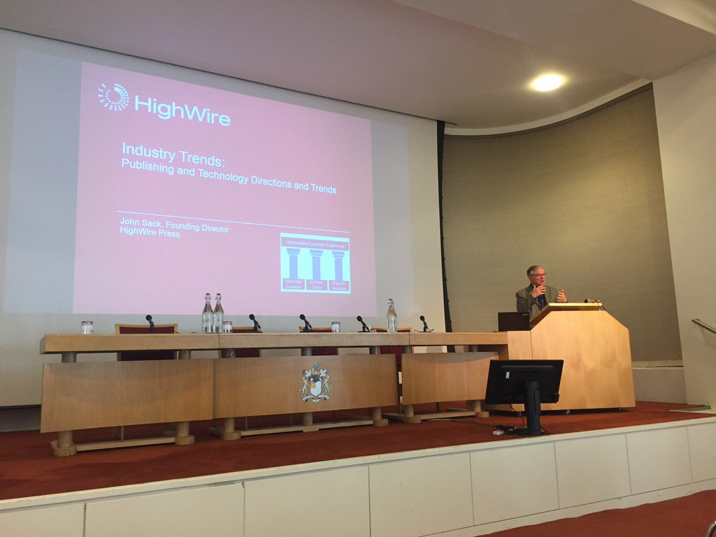 @highwirepress Founding Director @johnsack on industry technology trends #scholarly #publishing HWLondon<br>http://pic.twitter.com/YzQvdiynjI