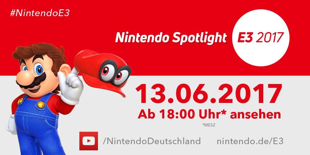 Nicht vergessen: Heute ab 18 Uhr läuft das Nintendo Spotlight: #E32017! ► https://t.co/JmoiVzhX19