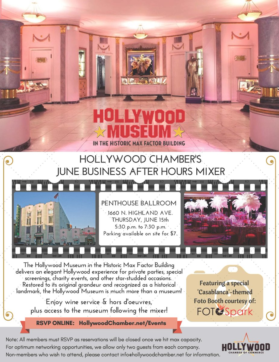 Our #members are in for a #reel treat, #treasures, #networking at mixer hosted by @HollywoodMuseum on Thursday. RSVP  http:// ow.ly/Tixk30cyPU1  &nbsp;  <br>http://pic.twitter.com/j2iEukZ2v6