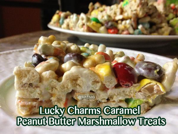 Lucky Charms Caramel Peanut Butter Marshmallow Treats #Recipe