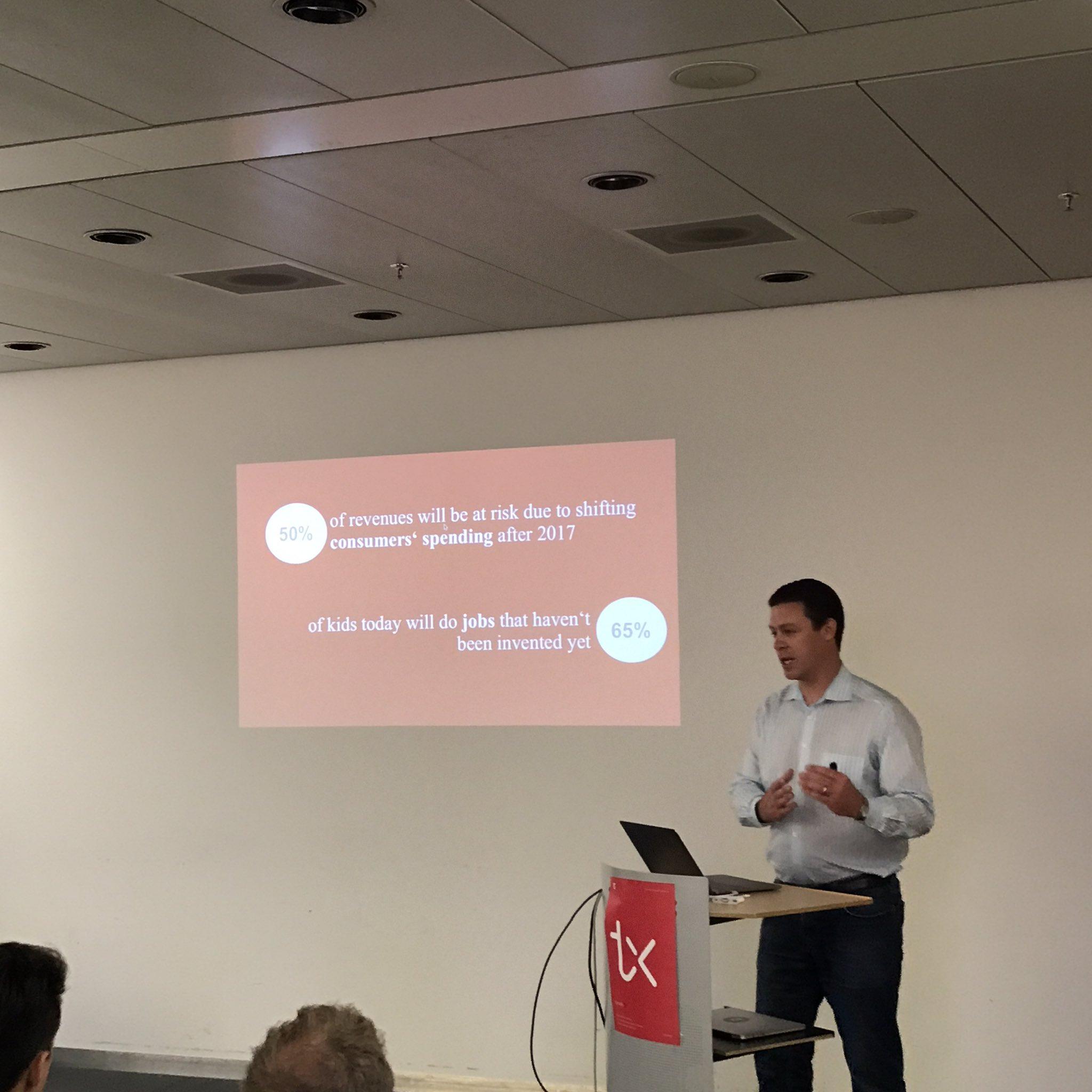 """Nicolas Bürer from @dgt_switzerland: """"65% of kids today will do jobs that haven't been invented yet"""" #tamediatx #digitalisation https://t.co/Gw17XUT4Ga"""