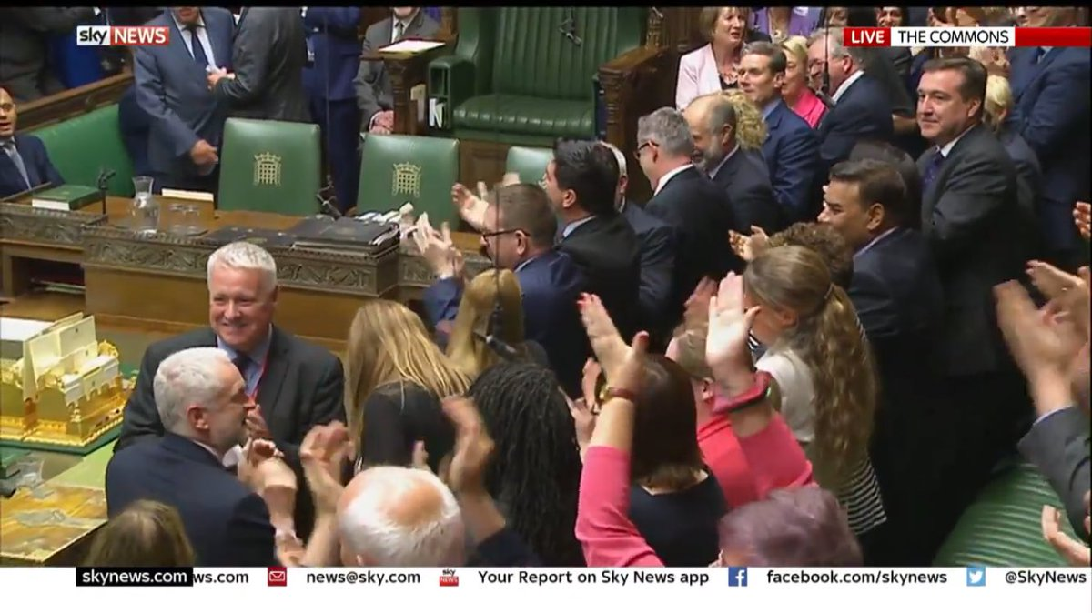 Jeremy Corbyn receiving rapturous applause from Opposition benches, as bemused Conservatives watch on as Commons returns: