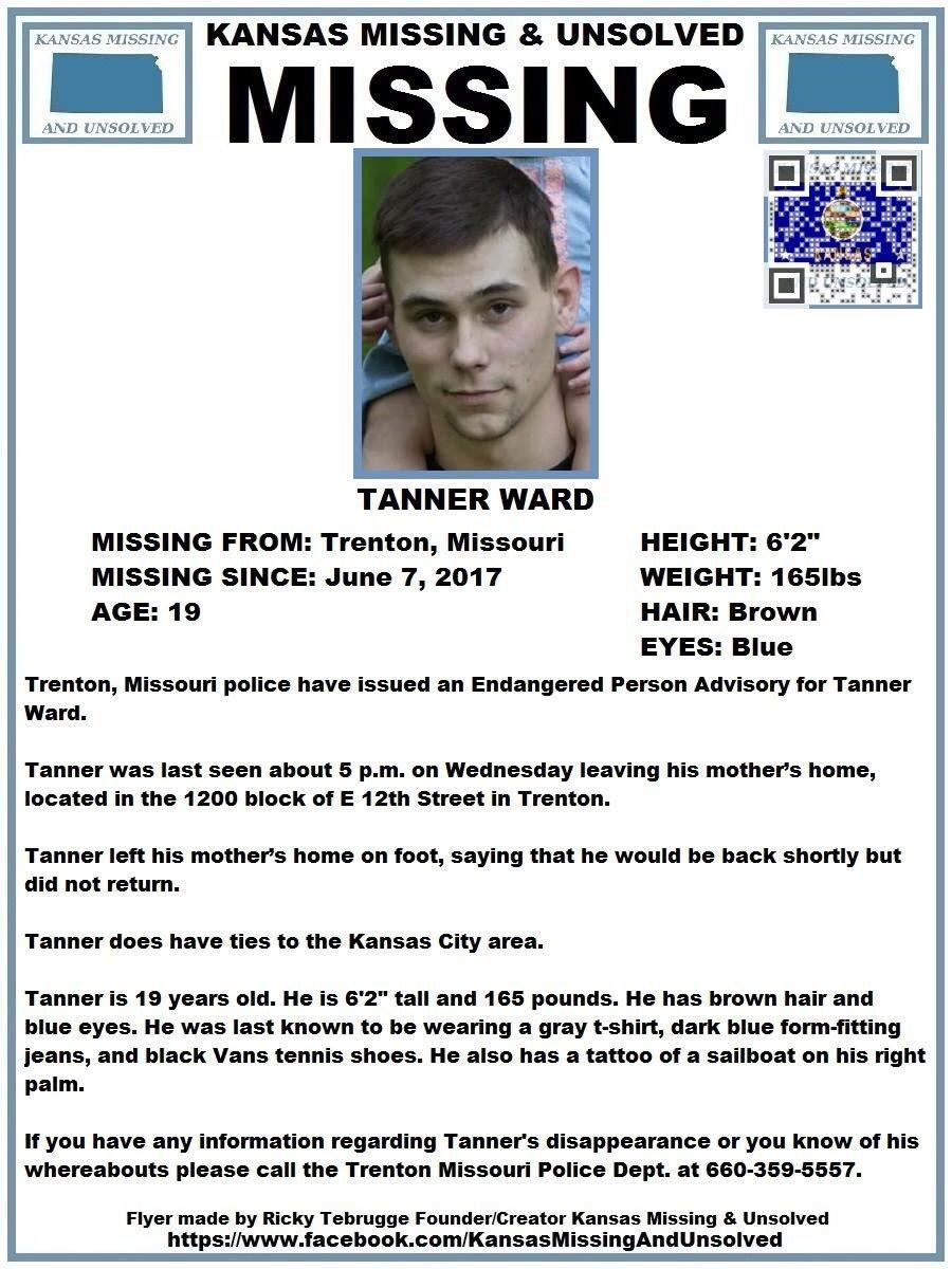 "KS Missing&Unsolved - Ricky Tebrugge - FDR/CREATOR on Twitter: ""PLEASE  RT!#MISSING!Tanner Ward(Trenton,MO)… """