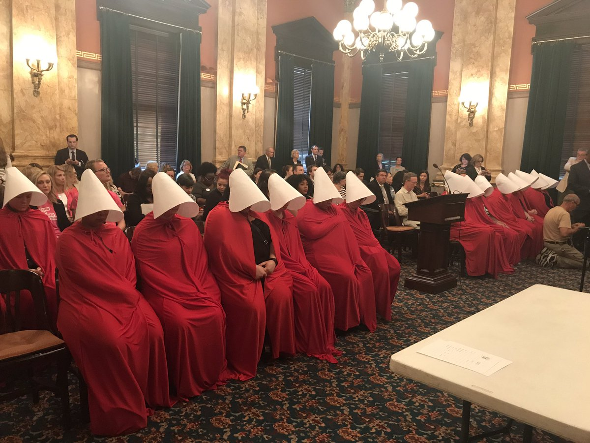Women Dressed As Handmaids Descend On Ohio Statehouse To Protest Anti-Abortion Law