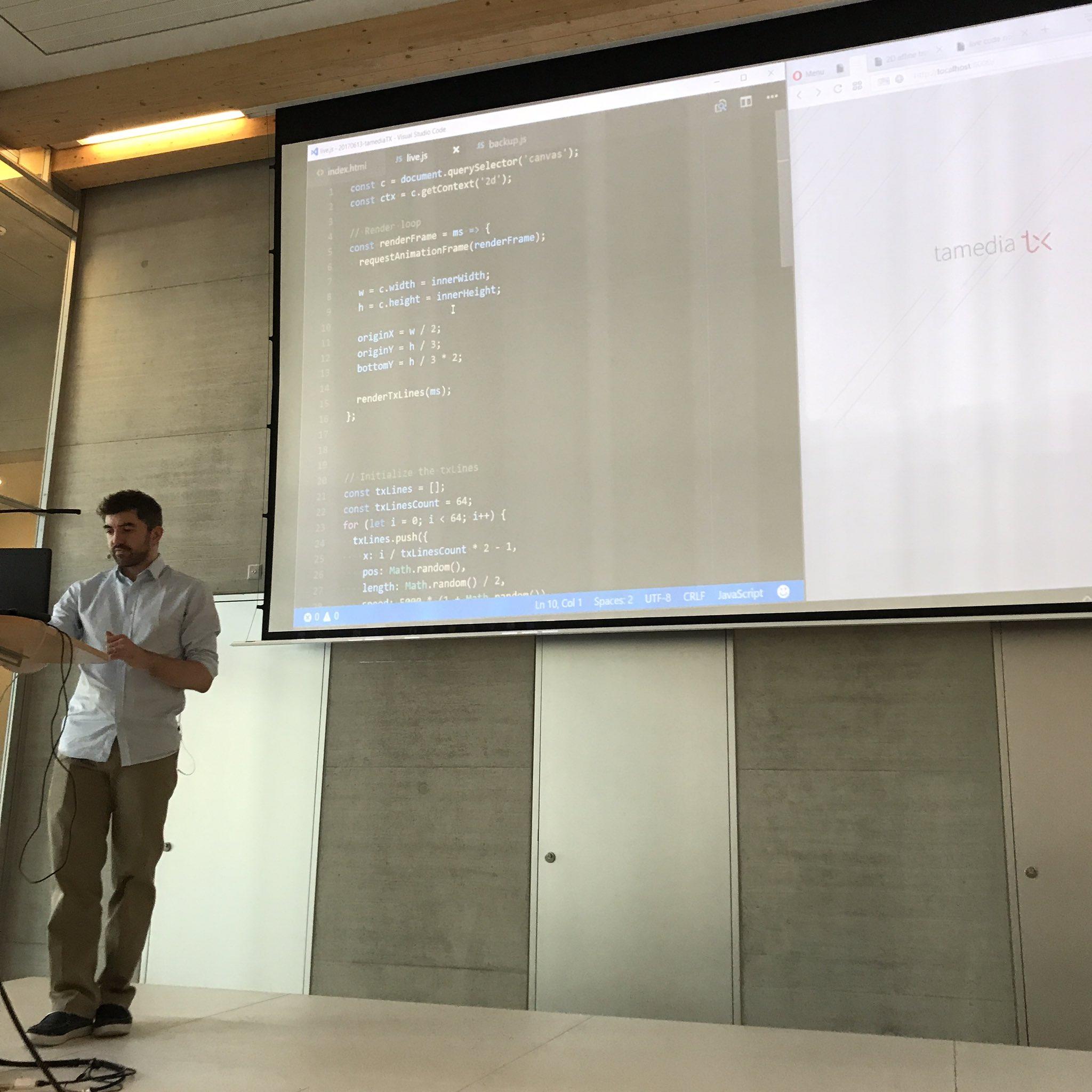 Live coding/art demo by @p01 at #tamediatx #coding https://t.co/q25mAn1xk7