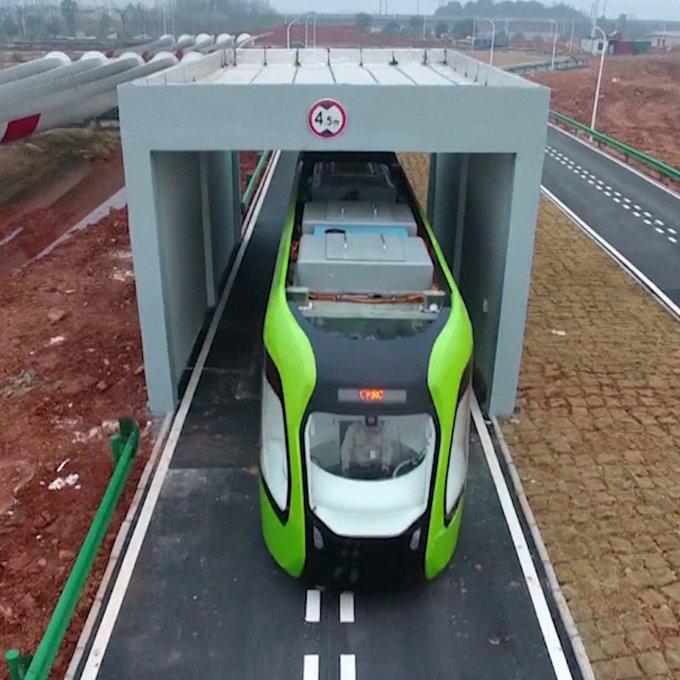 China is testing a train that runs on a virtual track