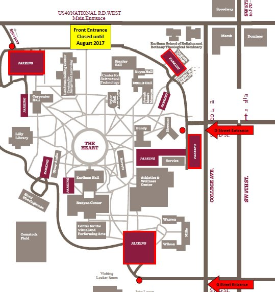 Earlhamcollegeevents On Twitter Campus Map With Front Entrance