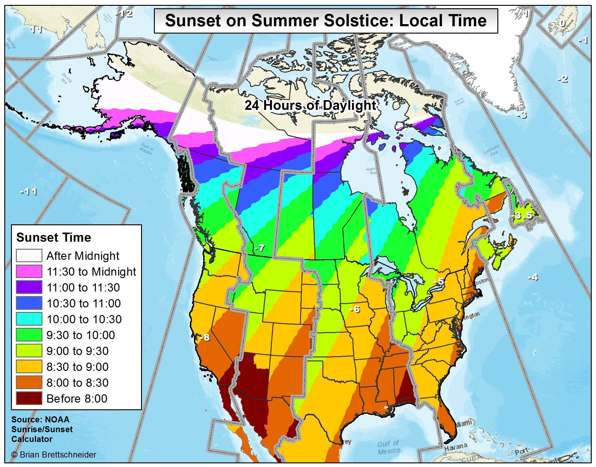 A Map Of Sunset Times On The Summer Solstice Across The USA And - Map of canada and usa