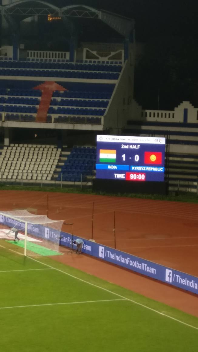 FT : #India 1-0 #Kyrgyzstan   What a win. What a goal. What a night!   #indvkgz #indianfootball https://t.co/pkx4eNbqLV
