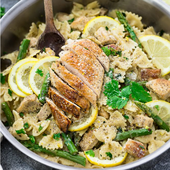 Lemon Garlic Chicken Asparagus Pasta