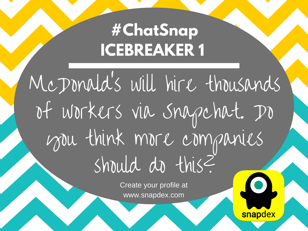 ICE 1: @McDonalds will hire thousands of workers via Snapchat: https://t.co/NufJRpTuTy Should more companies do this? #chatsnap @Snapdex https://t.co/9Pguk09ihN