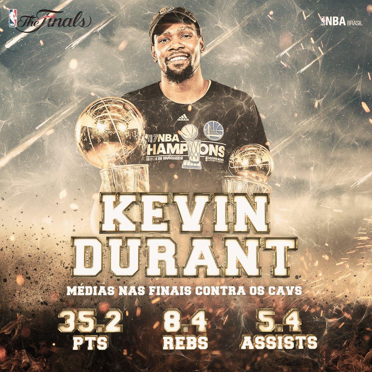 .@KDTrey5 silencioso e mortal! Confira os números que o #NBAFinals MVP anotou durante esses 5 jogos contra os @cavs!