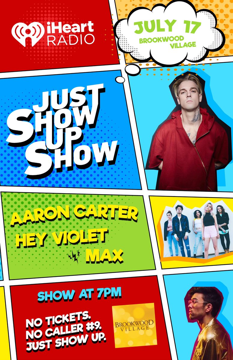 Our #JSUS is BACK! Featuring @aaroncarter , @HeyViolet , & @Maxgschneider !! July 17th at @ShopBrookwoodV https://t.co/ag5ziG547M