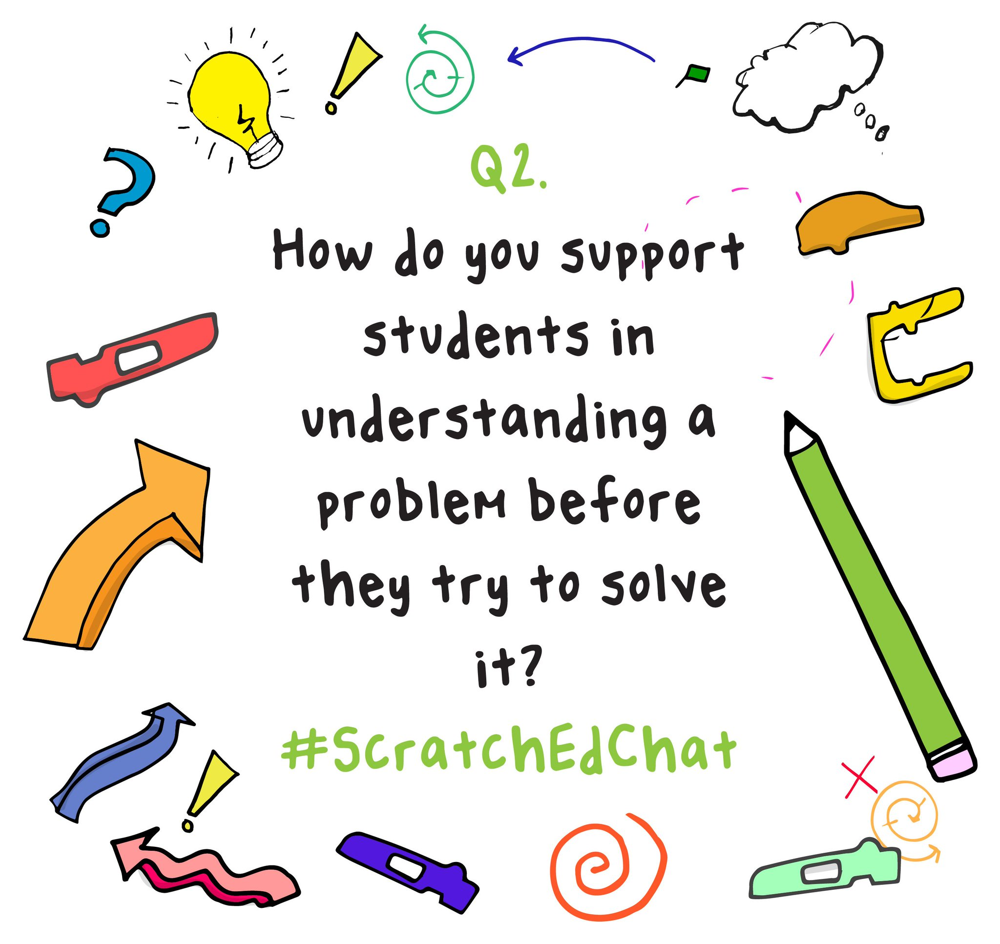 Q2. How do you support students in *understanding* a problem before they try to solve it? #ScratchEdChat https://t.co/9V8gSsGavE