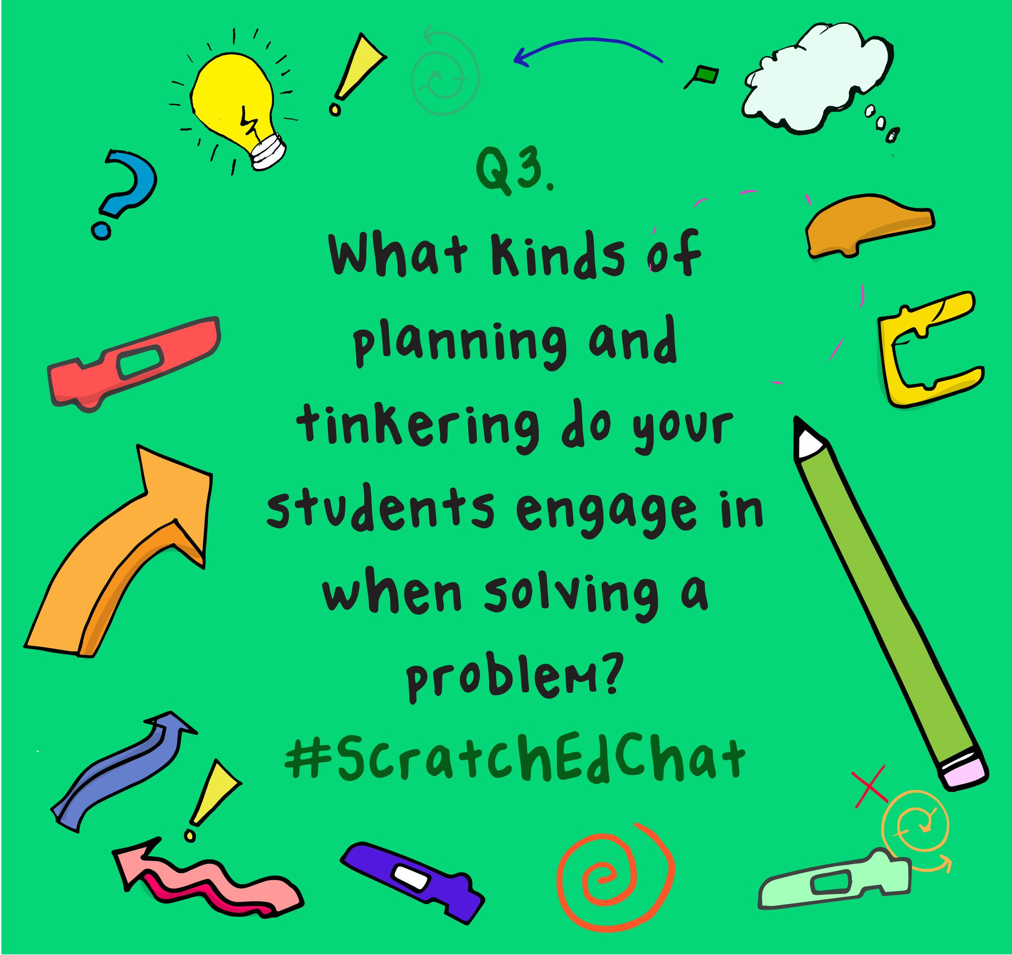 Q3. What kinds of planning and tinkering do your students engage in when solving a problem? #ScratchEdChat https://t.co/SxOyL6mmUi