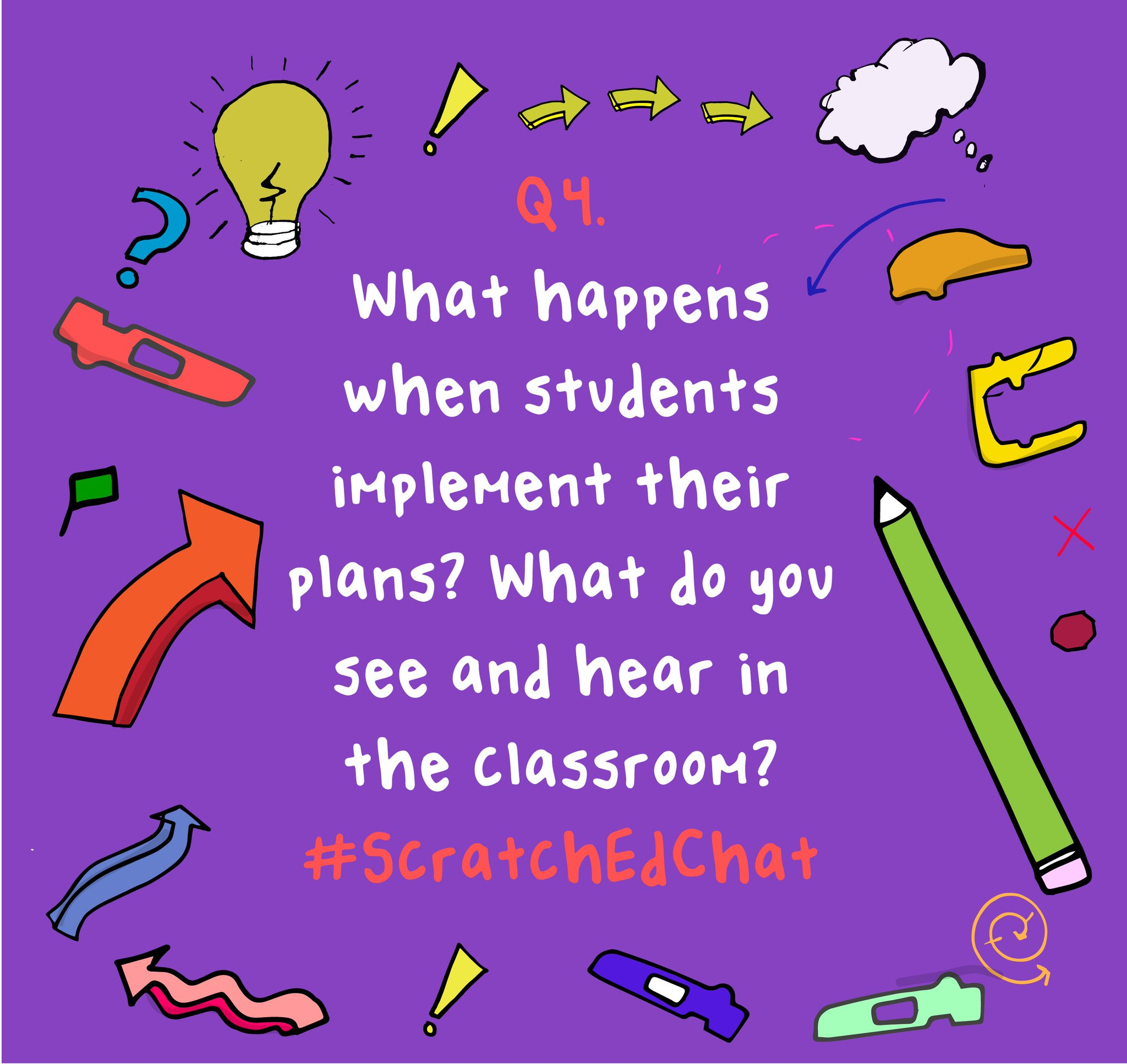Q4. What happens when students implement their plans? What do you see and hear in the classroom? #ScratchEdChat https://t.co/LnuzwUMT8M
