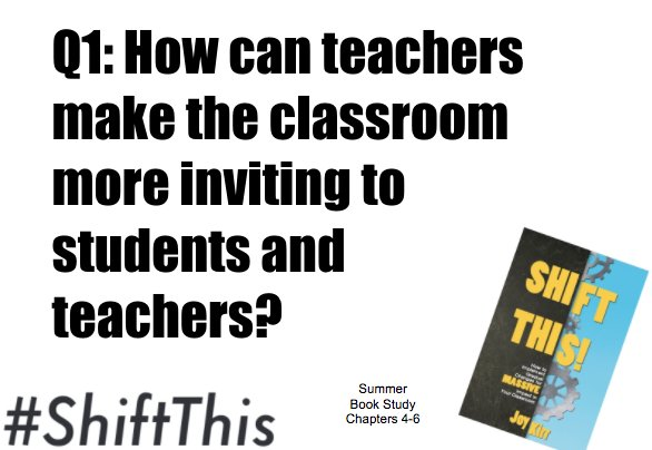 It's a cozy group tonight- let's get started! Q1: How can teachers make the classroom more inviting to students & other teachers? #ShiftThis https://t.co/lpQPthlogG