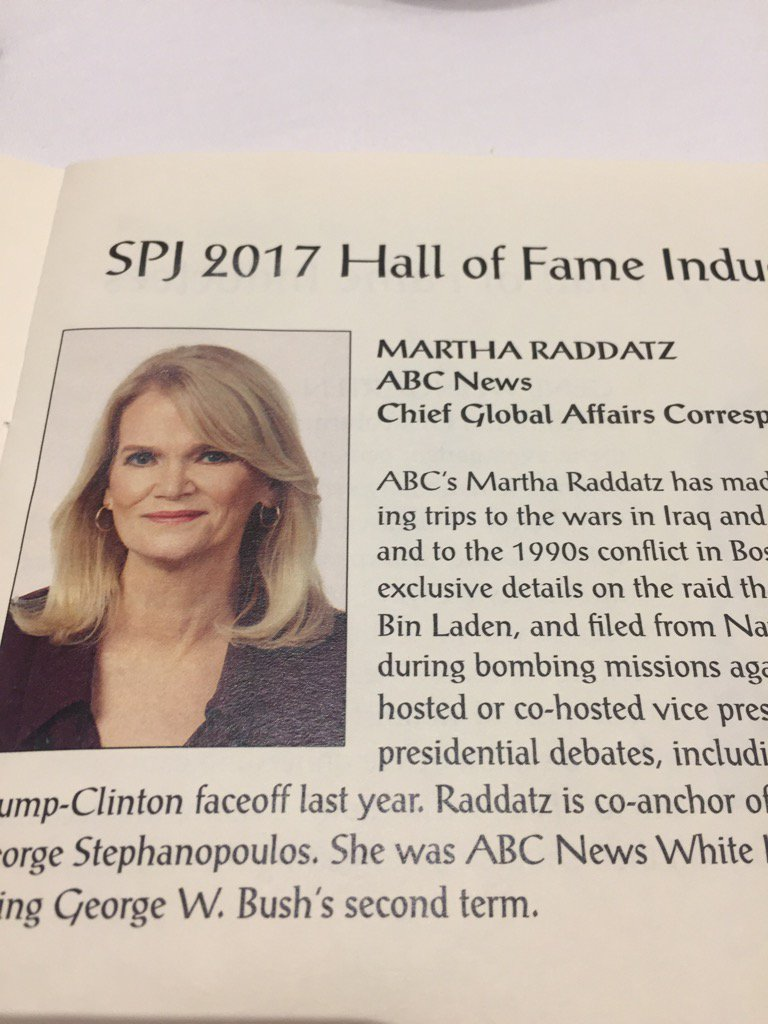 """Quite simply a badass,"" introducer says of Martha Raddatz, 3rd #dcspj17 Hall of Fame inductee https://t.co/RxLvU3qiF1"
