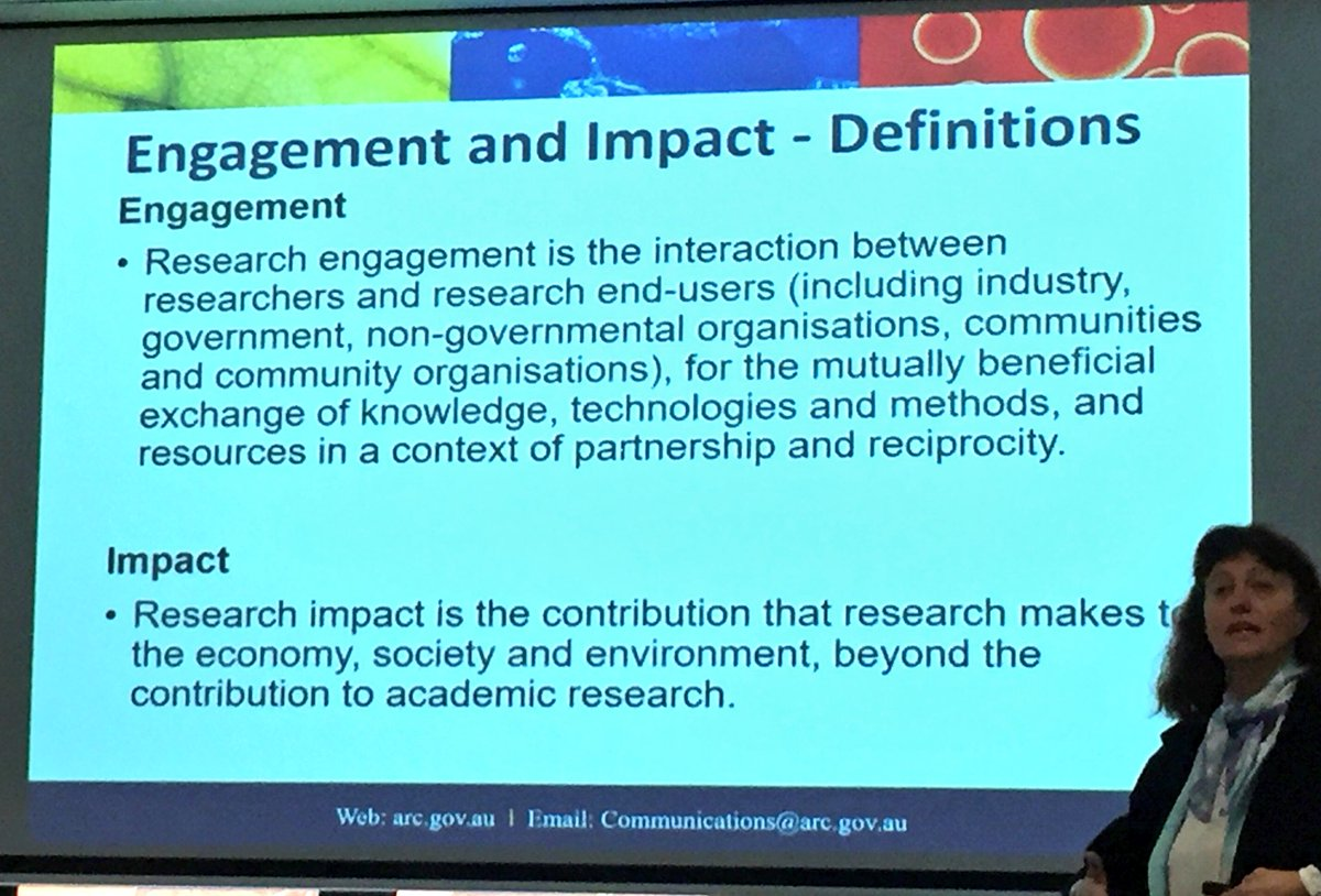 What is #researchengagement vs. #reseachimpact ?? via @arc_gov_au - @CoralCoE #researchfellows discuss... key for funding! <br>http://pic.twitter.com/LCtQLmCkZk