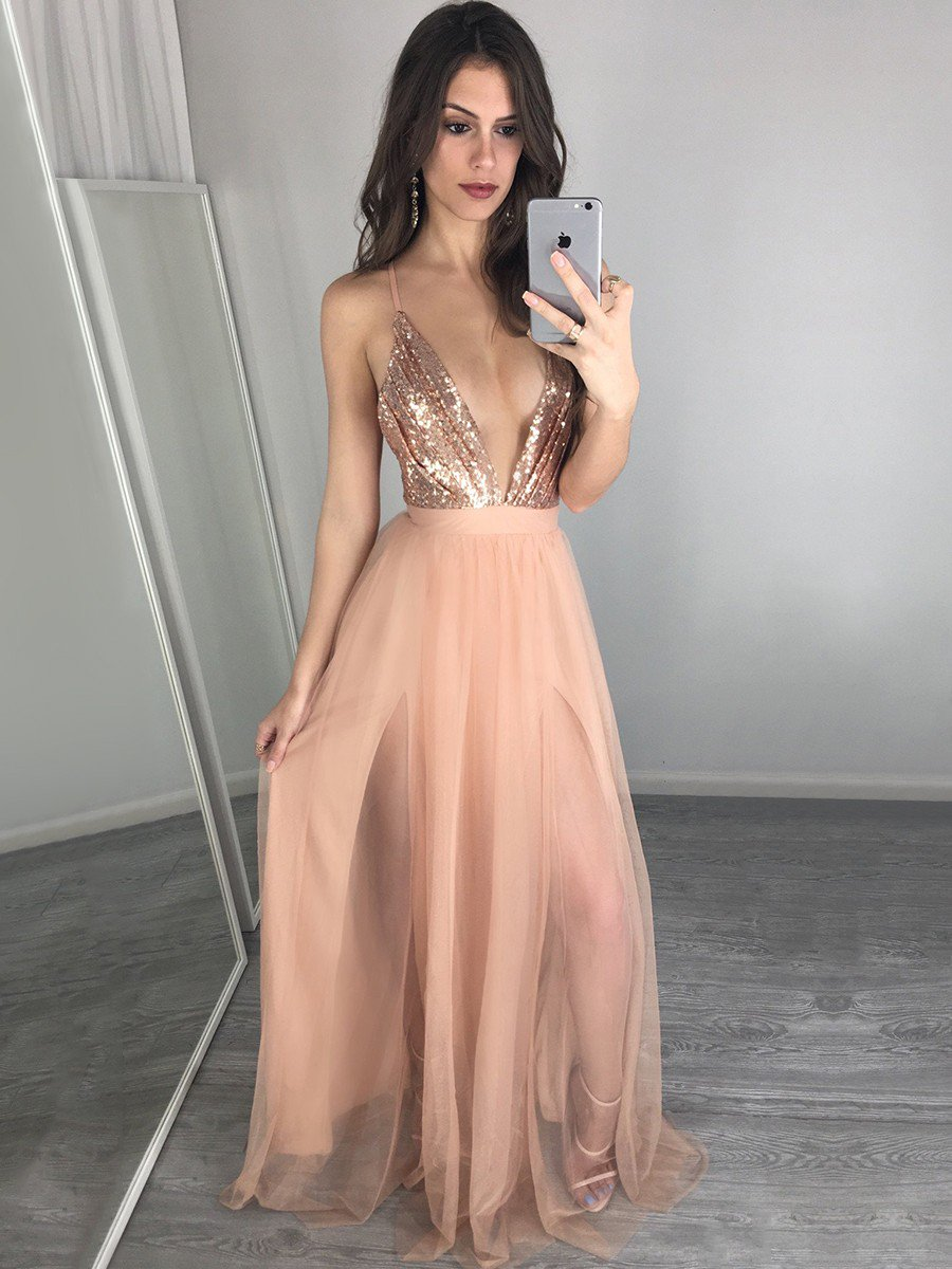 4f73267fc4b Hot A-line V-neck Tulle Long Backless Prom Dress. Find at  https   goo.gl Ahm679  dressesofgirl  promdresses  backless  formaldresses   sexypic.twitter.com  ...