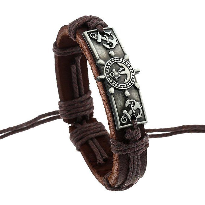 Handmade Leather Pirate Mens Bracelet