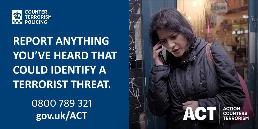 If you see something that could be terrorist related, Just ACT. In an emergency call 999 #ActionCountersTerrorism
