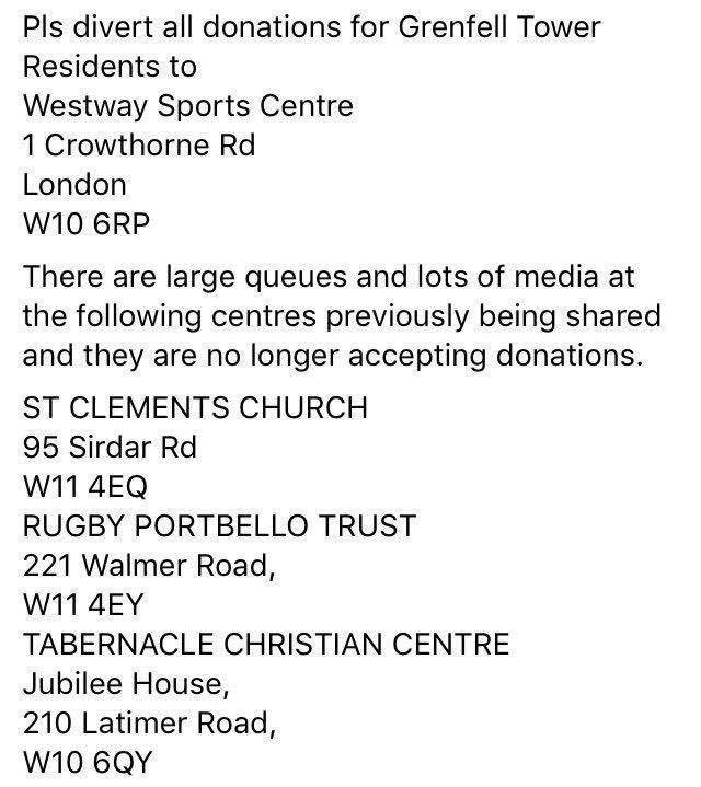 New drop off points for #GrenfellFire donations - previous drop offs no longer collecting https://t.co/nGbVAmsOND