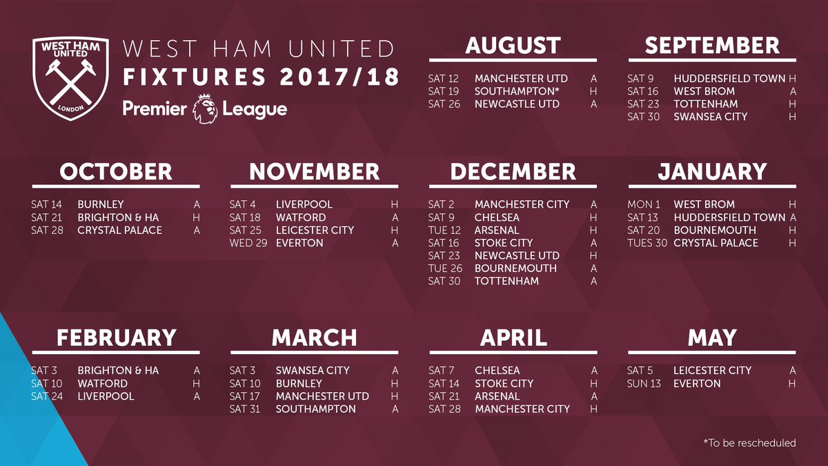 Our first game of the 2017/18 @premierleague season will be @ManUtd away!  #COYI #WeAreWestHam