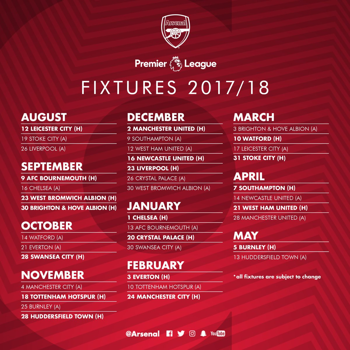 "Gooners Report Indo On Twitter: ""#OFFICIAL: Jadwal Lengkap"