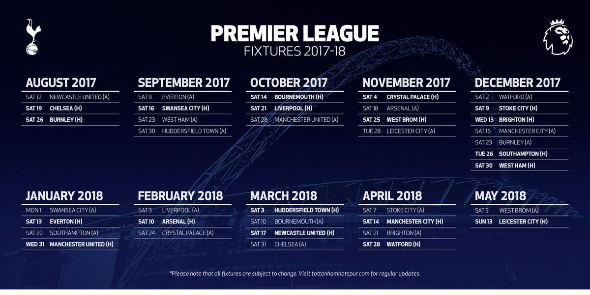 Man City Fixtures: Full 2017/18 Premier League Fixtures For Arsenal
