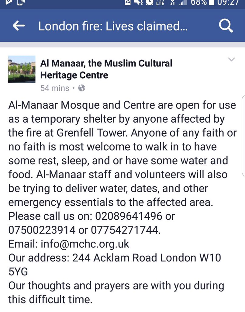 Address of Al-Manar Centre Ladbroke Grove who are providing help to anyone affected by #GreenfellTower fire. https://t.co/kXm8uT97EF