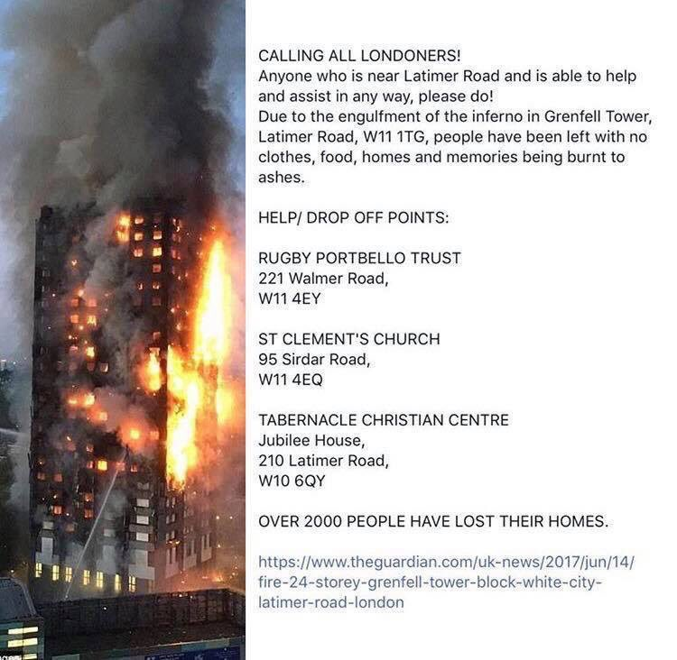 People of London, let's stand behind one another and help if you can. See drop off points
