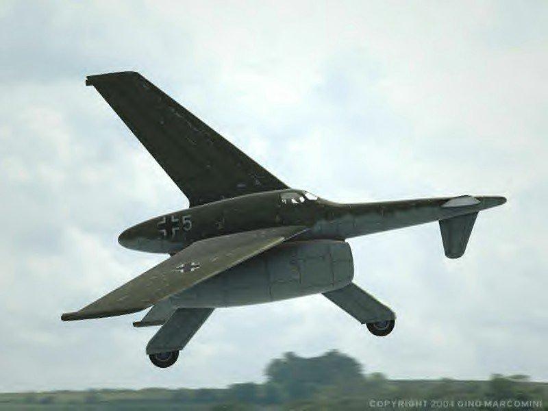 Rheinmetall-Borsig VTOL(ドイツ) 自転車付き垂直離陸・短距離着陸戦闘機。機首を上にして離陸するヤツは大抵、着陸時も上を向くけど、コイツはバランスを犠牲に搭載した自転車で着陸。 …どうやって止まるの?