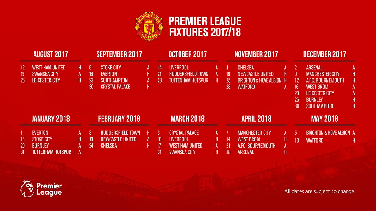 Image result for manchester united premier league fixtures
