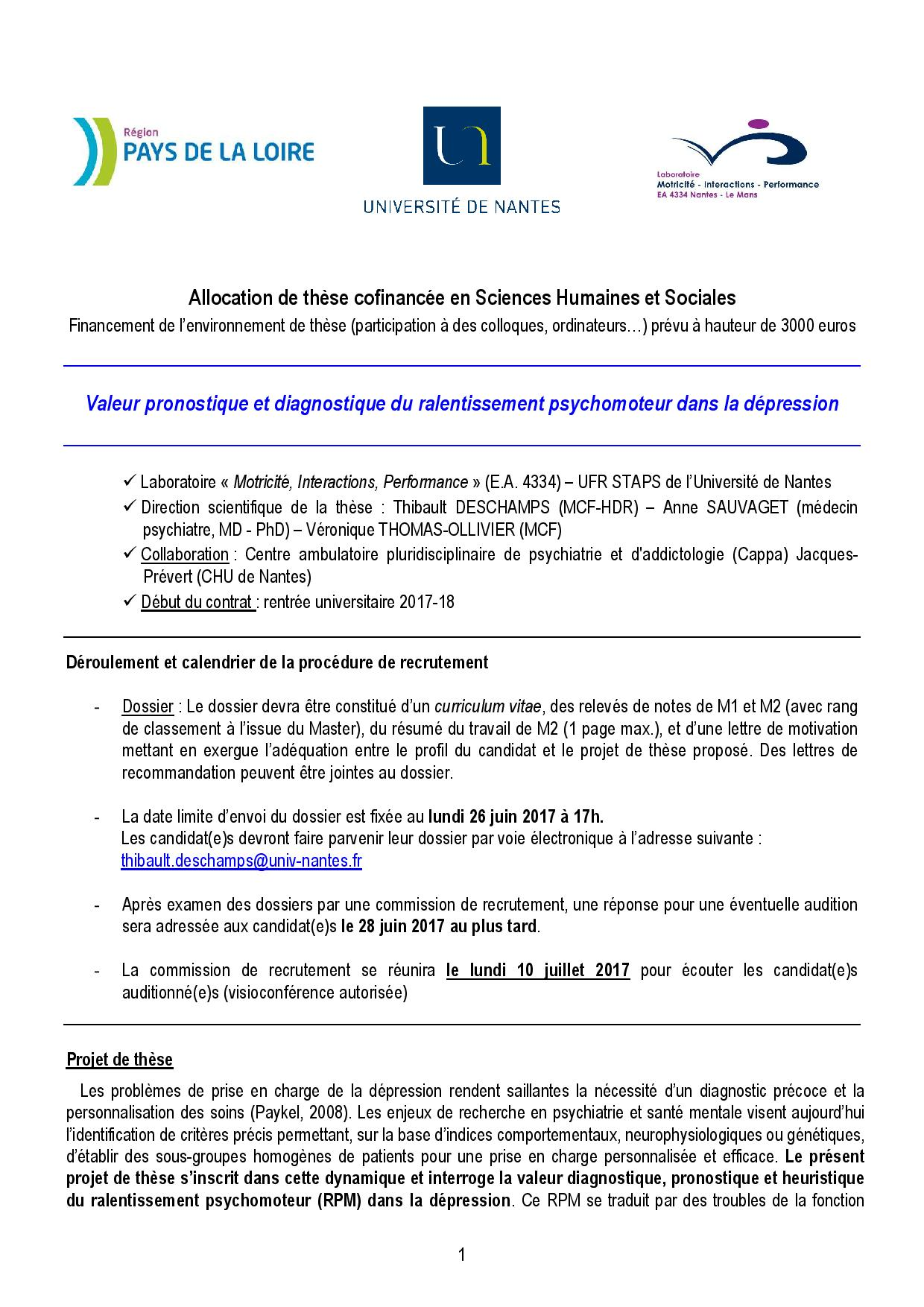 Calendrier Univ Nantes.Labo Mip On Twitter Appel A Candidats These Mip