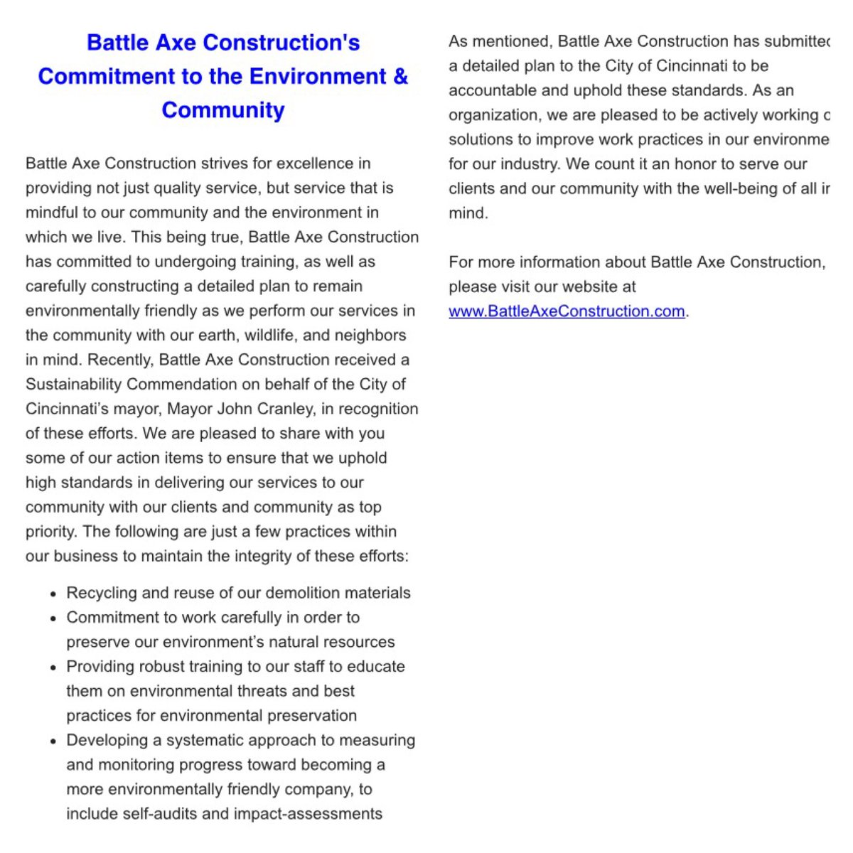 Battle Axe believes in preserving our environment! Check out our plan! #Construction #OhioConstruction #GeorgiaConstruction #GreenCompany <br>http://pic.twitter.com/m0E5AWROys