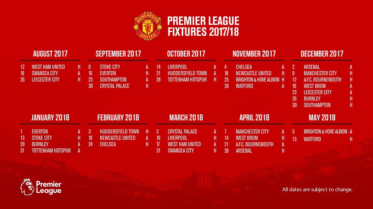 Manchester United Calendario.Calendario Manchester United Calendario 2020