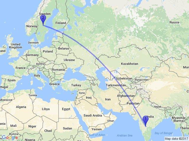Random Distance On Twitter The Distance Between Awrad B - Sweden map distance