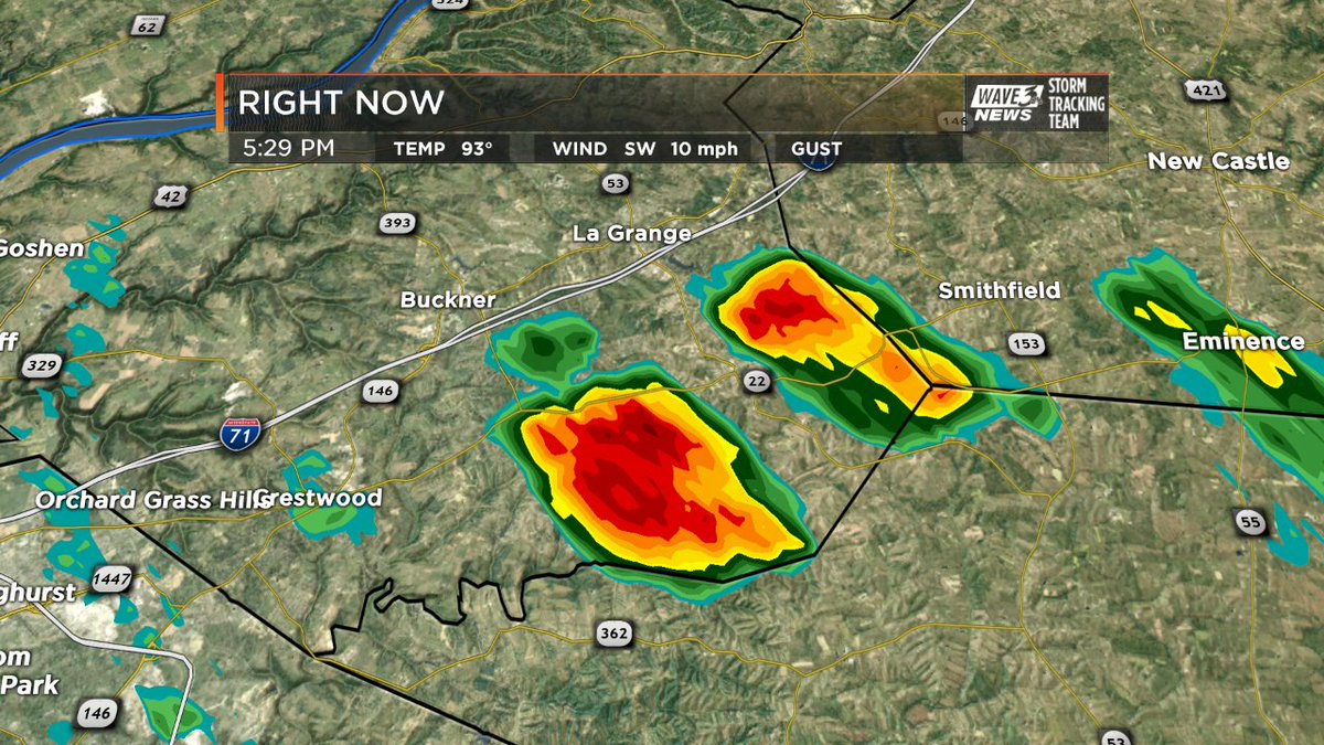 Downpours developing just south of I-71 in Oldham County. #WAVE3Weathe...