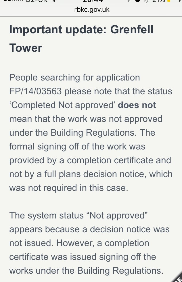 Appears that Grenfall was approved under a Building Notice - so no plans checked or approved just site inspections! https://t.co/zzH6mcVLSv