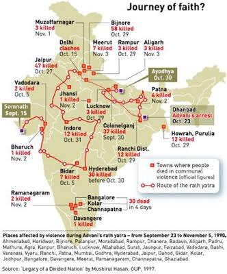 Map of L K Advani's Rath Yatra of 1990